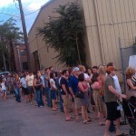 The line to get in, circa 8pm